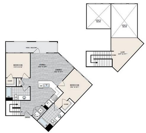 1,161 sq. ft. B7 floor plan