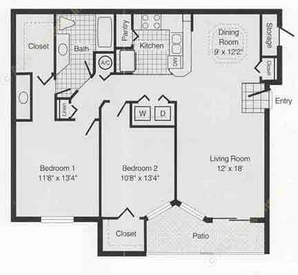 1,004 sq. ft. to 1,105 sq. ft. C floor plan