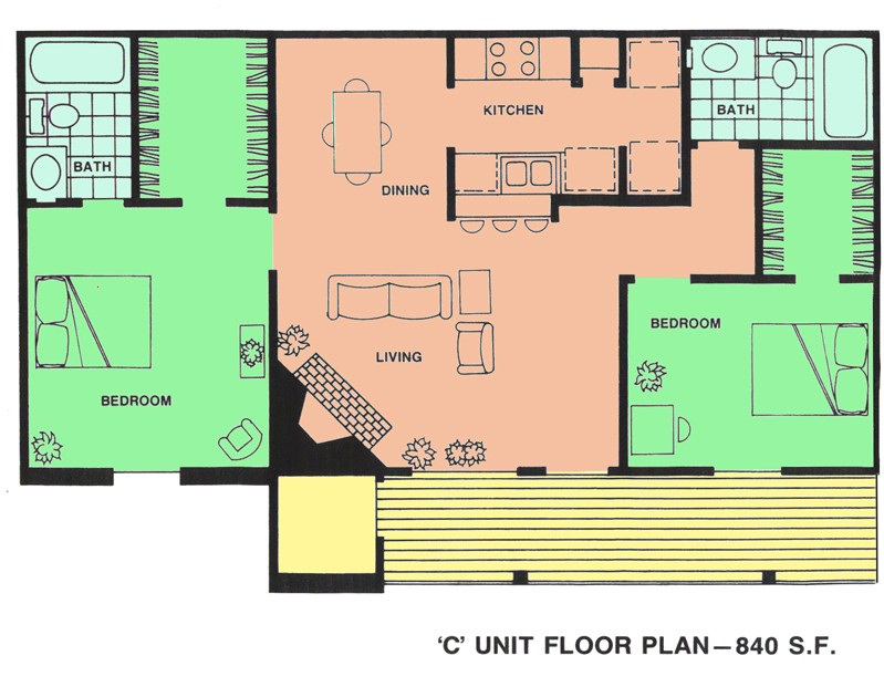 840 sq. ft. floor plan