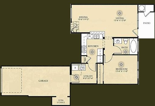 710 sq. ft. to 711 sq. ft. A1 - Monet floor plan