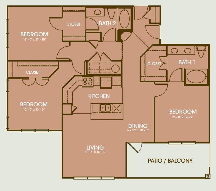 1,525 sq. ft. Camargo floor plan