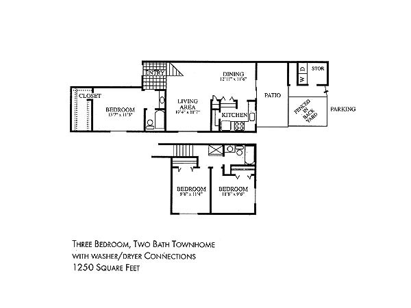 1,250 sq. ft. floor plan