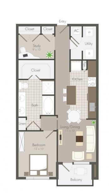 717 sq. ft. Haskell floor plan