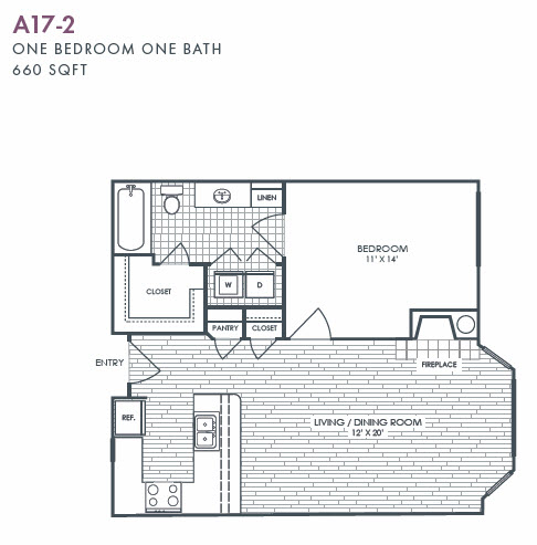 660 sq. ft. A17-2 floor plan