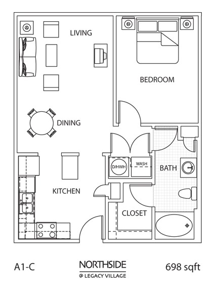 698 sq. ft. A1-C floor plan