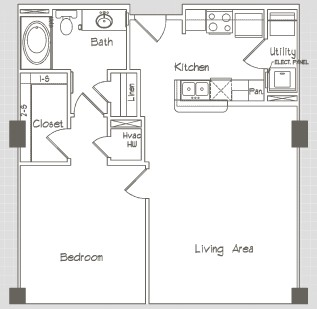741 sq. ft. A1.0 floor plan