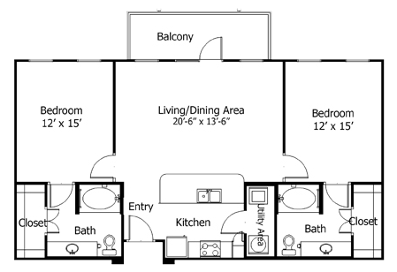 1,140 sq. ft. to 1,300 sq. ft. 5B1 floor plan