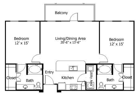 1,140 sq. ft. to 1,300 sq. ft. 5B1 floor plan