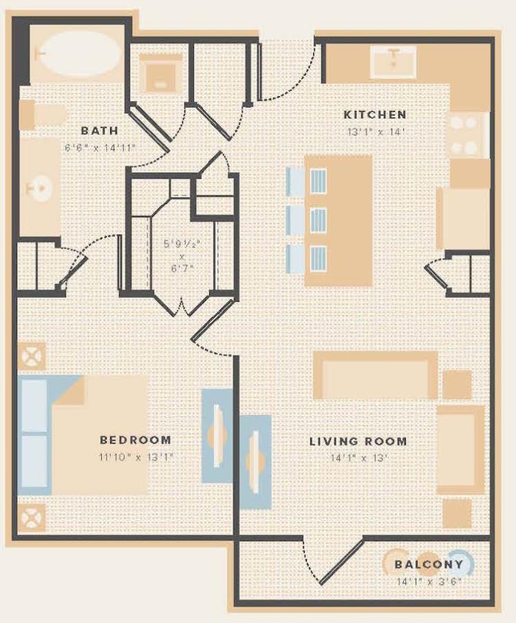 709 sq. ft. A13 floor plan