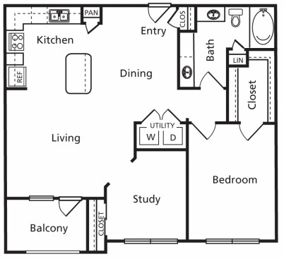 989 sq. ft. C2 floor plan
