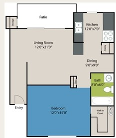 674 sq. ft. Rollingwood floor plan