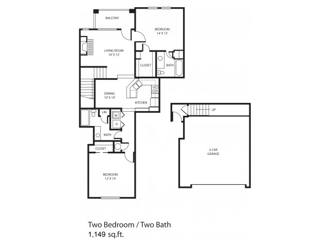 1,149 sq. ft. Prestonwood floor plan
