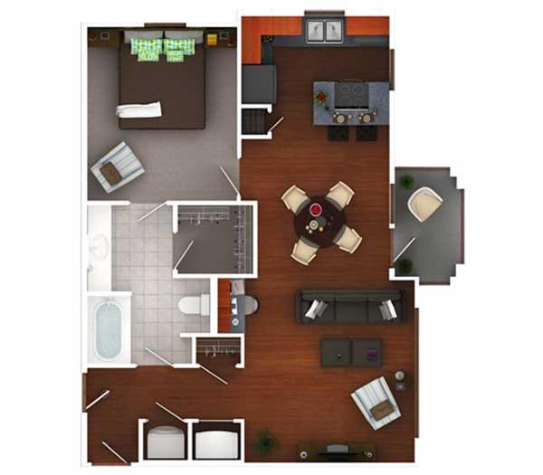 845 sq. ft. Ag7.1 floor plan