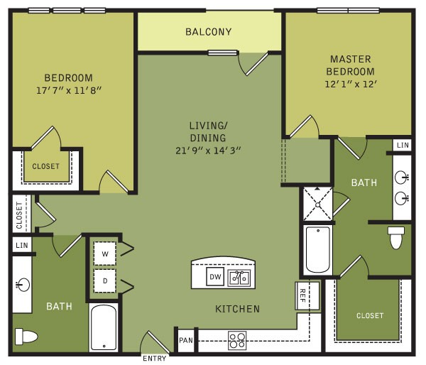 1,296 sq. ft. B3 (II) floor plan