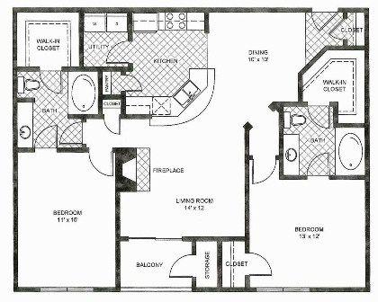 1,168 sq. ft. B2 floor plan