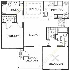 953 sq. ft. B1 floor plan