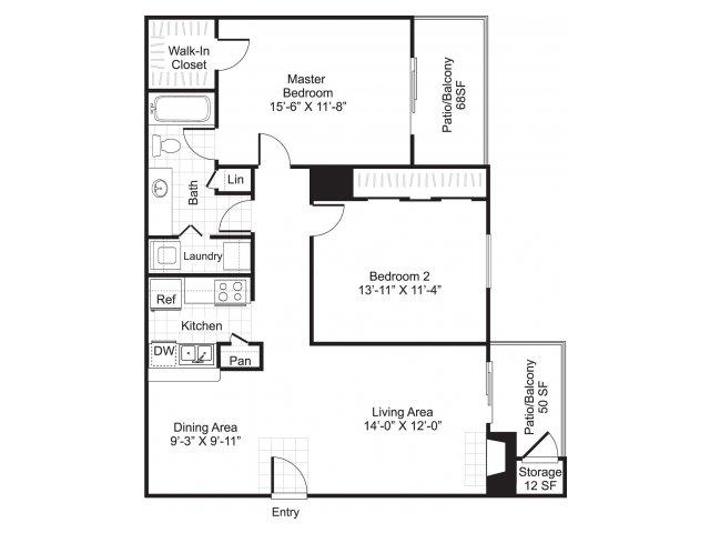 855 sq. ft. B1/Seahorse floor plan