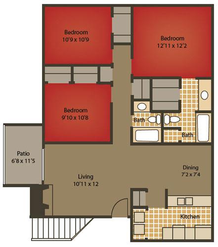 1,250 sq. ft. C2 floor plan