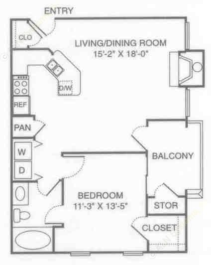 713 sq. ft. V-Square floor plan