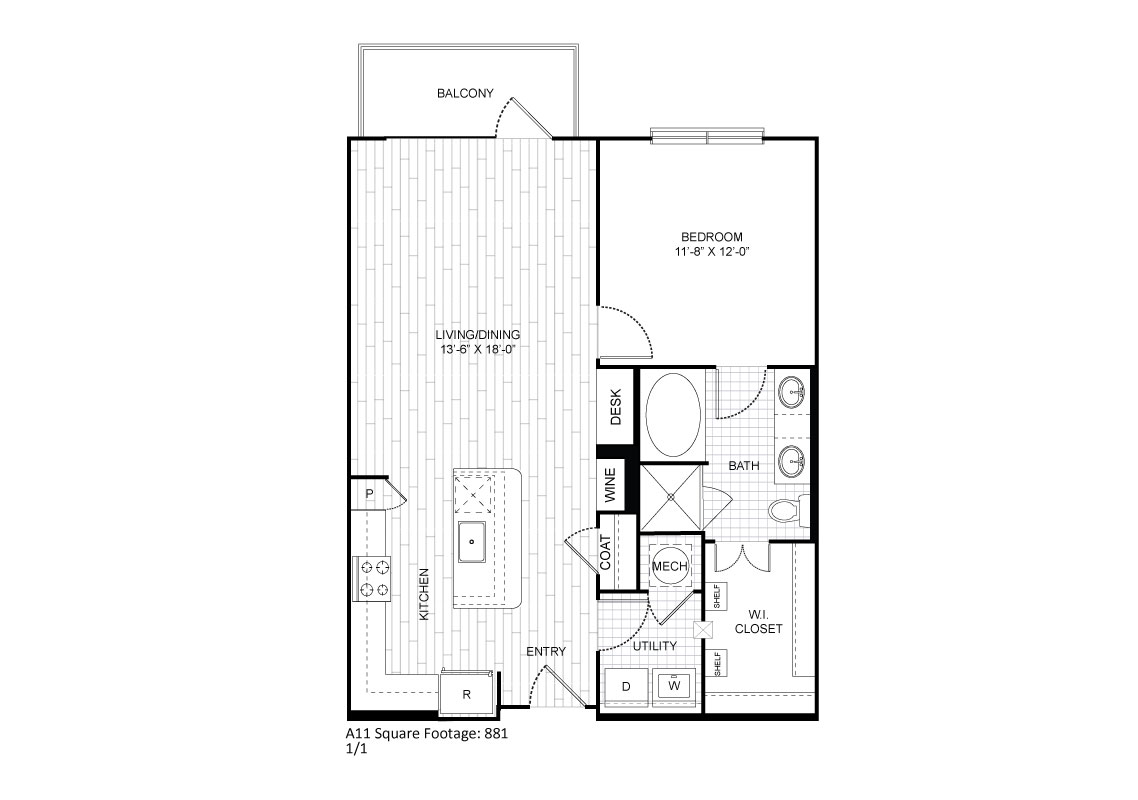 881 sq. ft. A11 floor plan