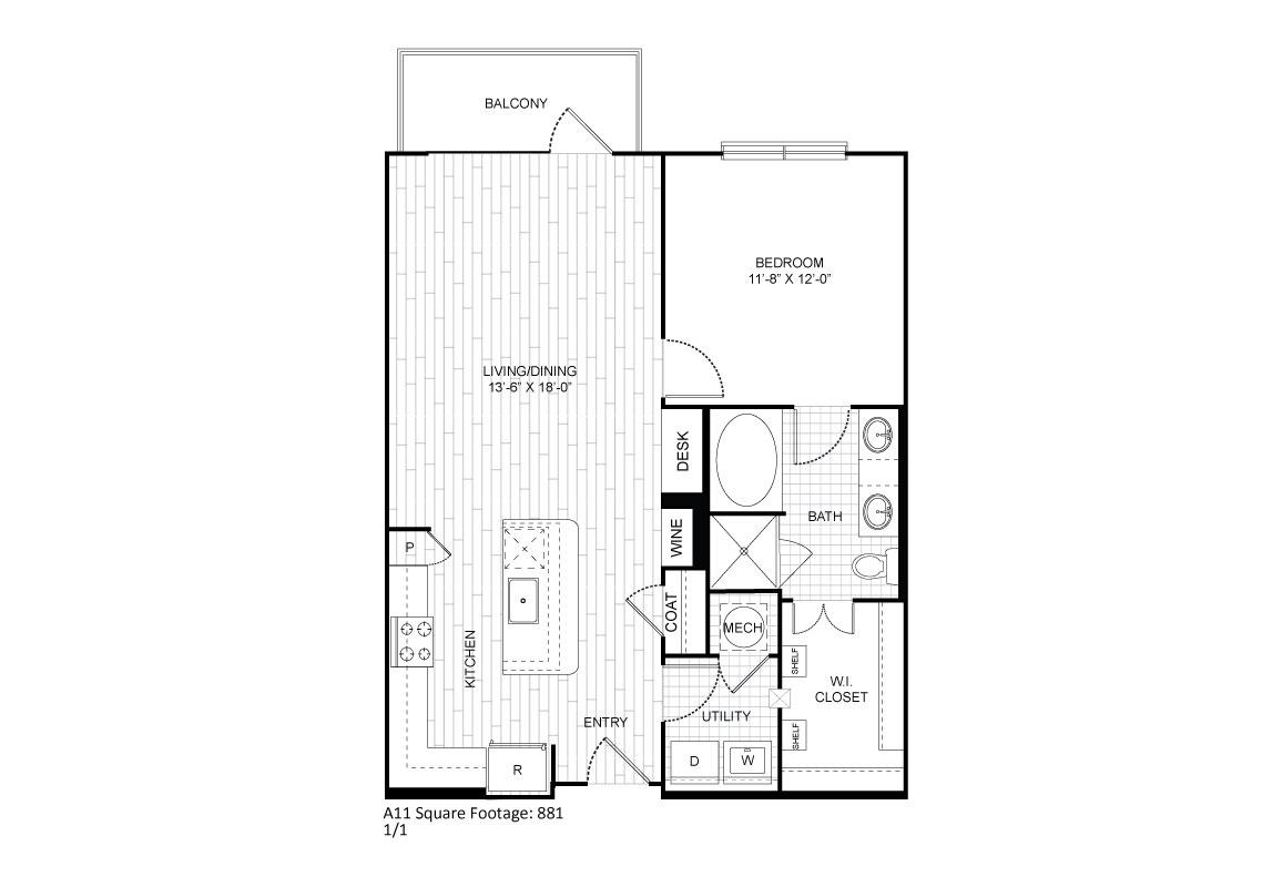829 sq. ft. A11 floor plan