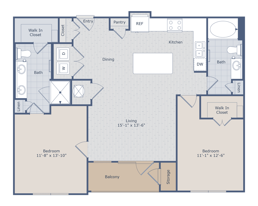 1,091 sq. ft. C1 floor plan
