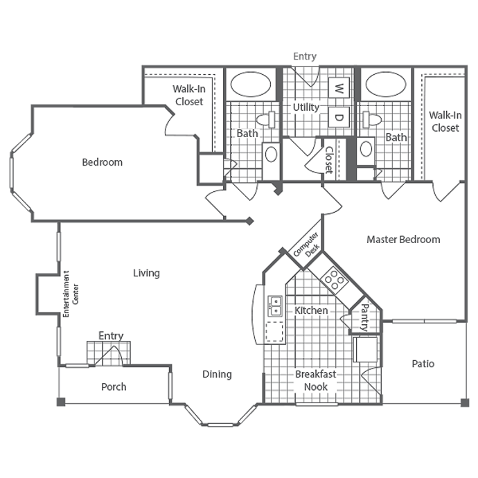 1,310 sq. ft. Harrington floor plan
