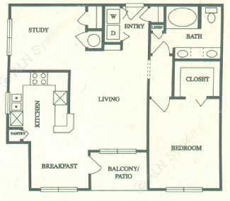 909 sq. ft. C floor plan