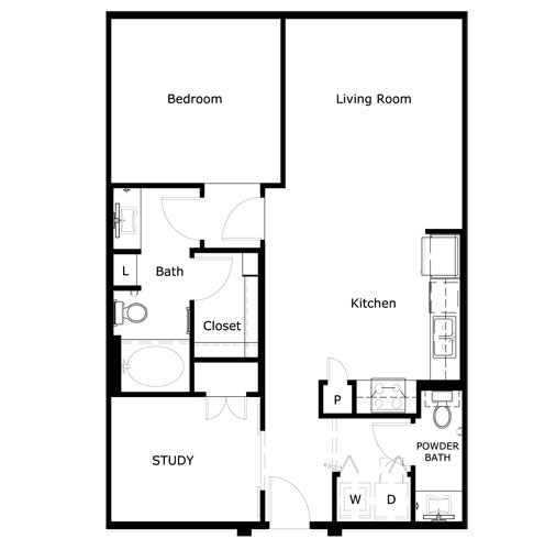 908 sq. ft. A2-II floor plan