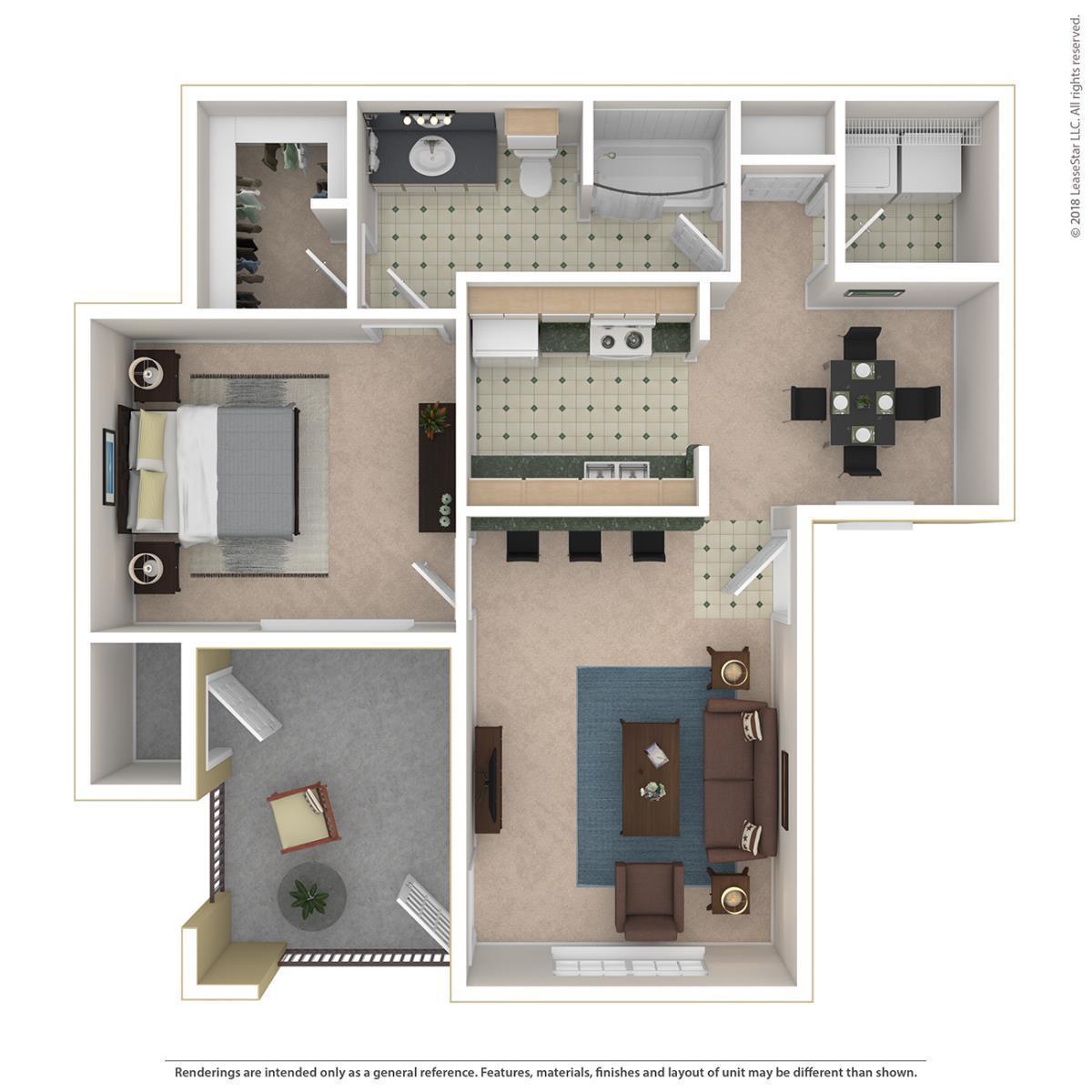 775 sq. ft. Belmont floor plan