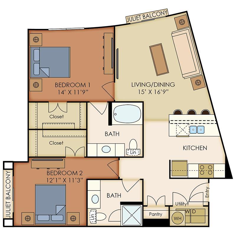 1,053 sq. ft. B3 floor plan