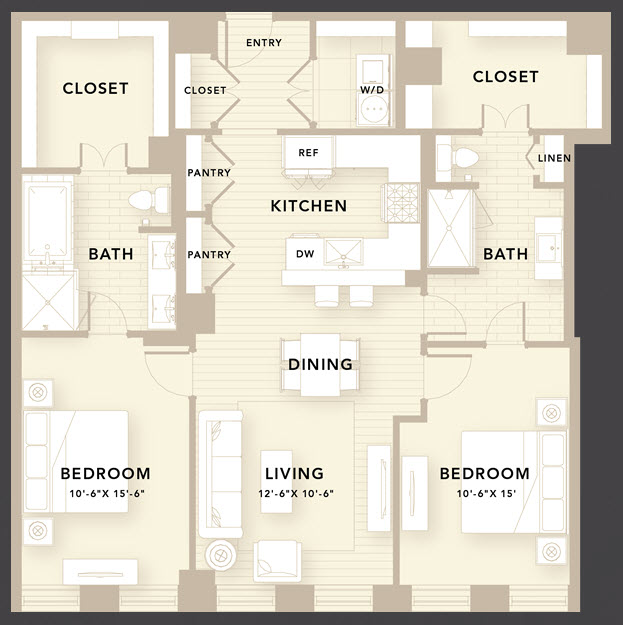 1,340 sq. ft. D2 floor plan