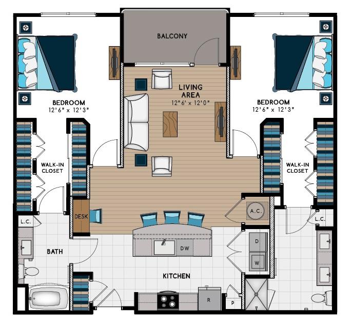 1,337 sq. ft. 2C floor plan