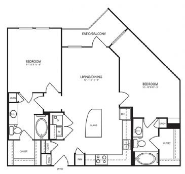 1,066 sq. ft. B1-1 floor plan