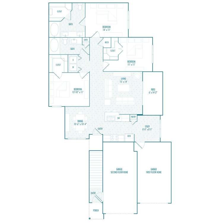 1,403 sq. ft. FG-1 floor plan