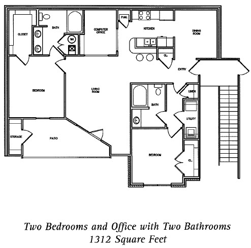 1,312 sq. ft. Monticello floor plan