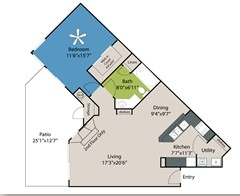 854 sq. ft. to 859 sq. ft. A3 floor plan