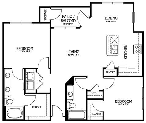 1,152 sq. ft. B2 floor plan