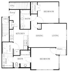 1,067 sq. ft. B3/60% floor plan