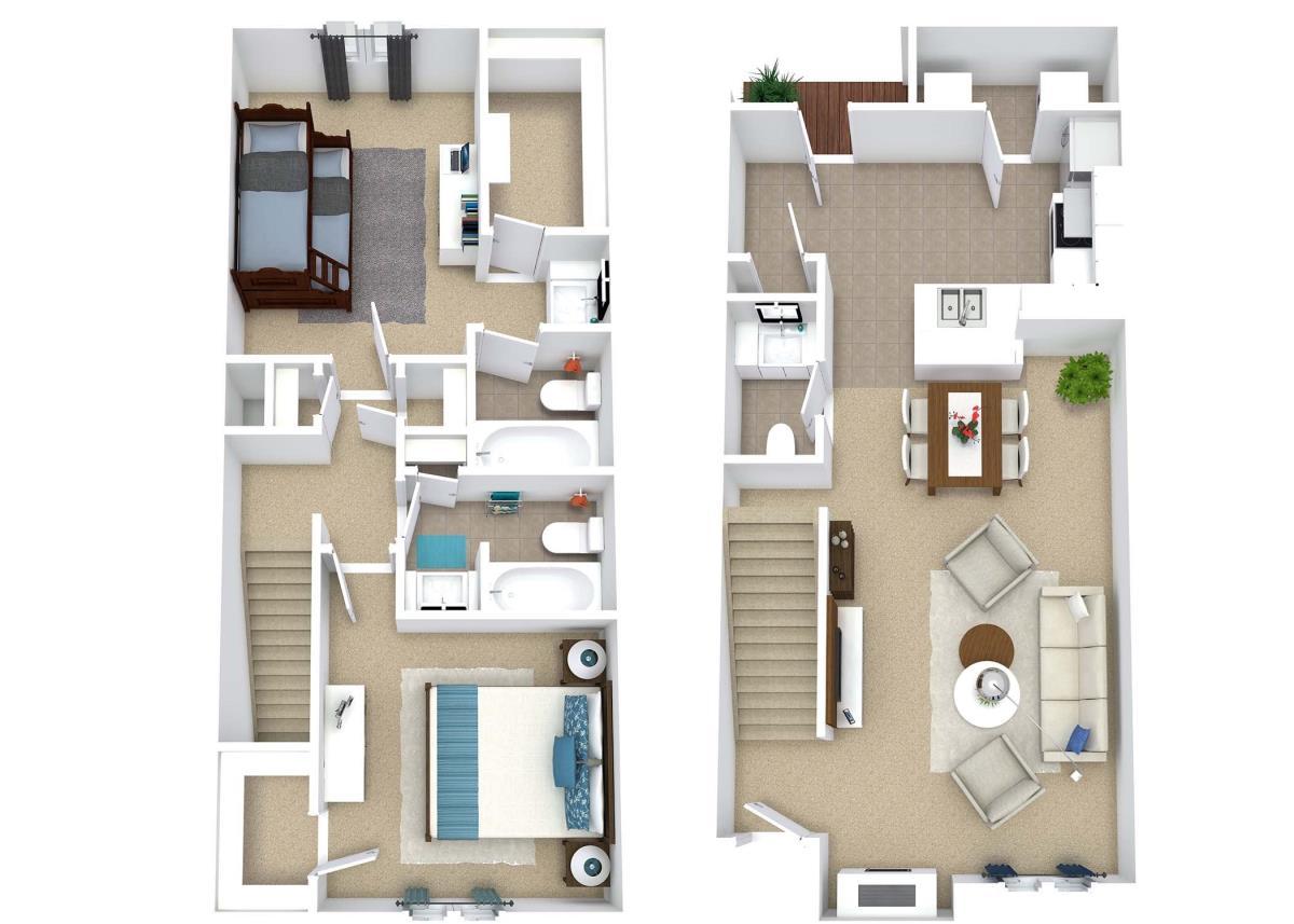 1,115 sq. ft. B7 floor plan