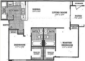 1,003 sq. ft. B2 floor plan