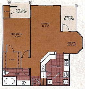 844 sq. ft. A3/CALDWELL floor plan