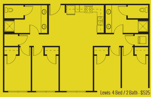 1,200 sq. ft. Lewis floor plan