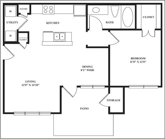 702 sq. ft. SHETLAND floor plan