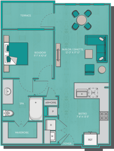 691 sq. ft. to 782 sq. ft. Aruba floor plan