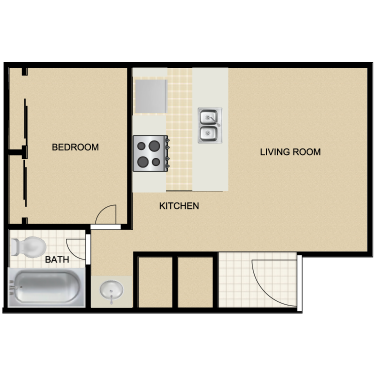 733 sq. ft. floor plan