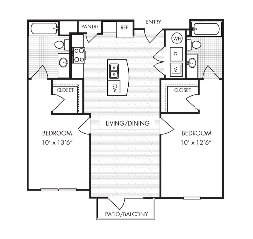 930 sq. ft. to 954 sq. ft. B1 floor plan