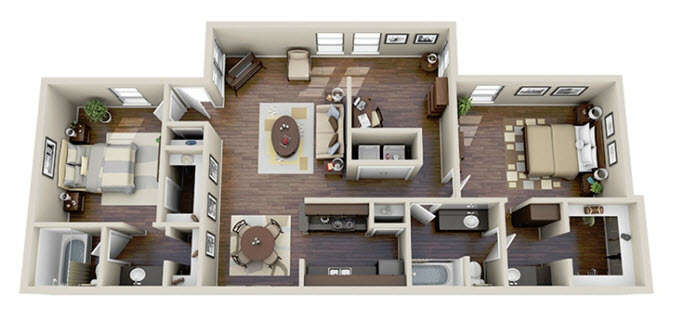 1,266 sq. ft. B3 floor plan