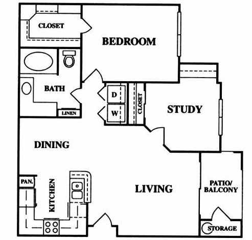 897 sq. ft. B1 floor plan
