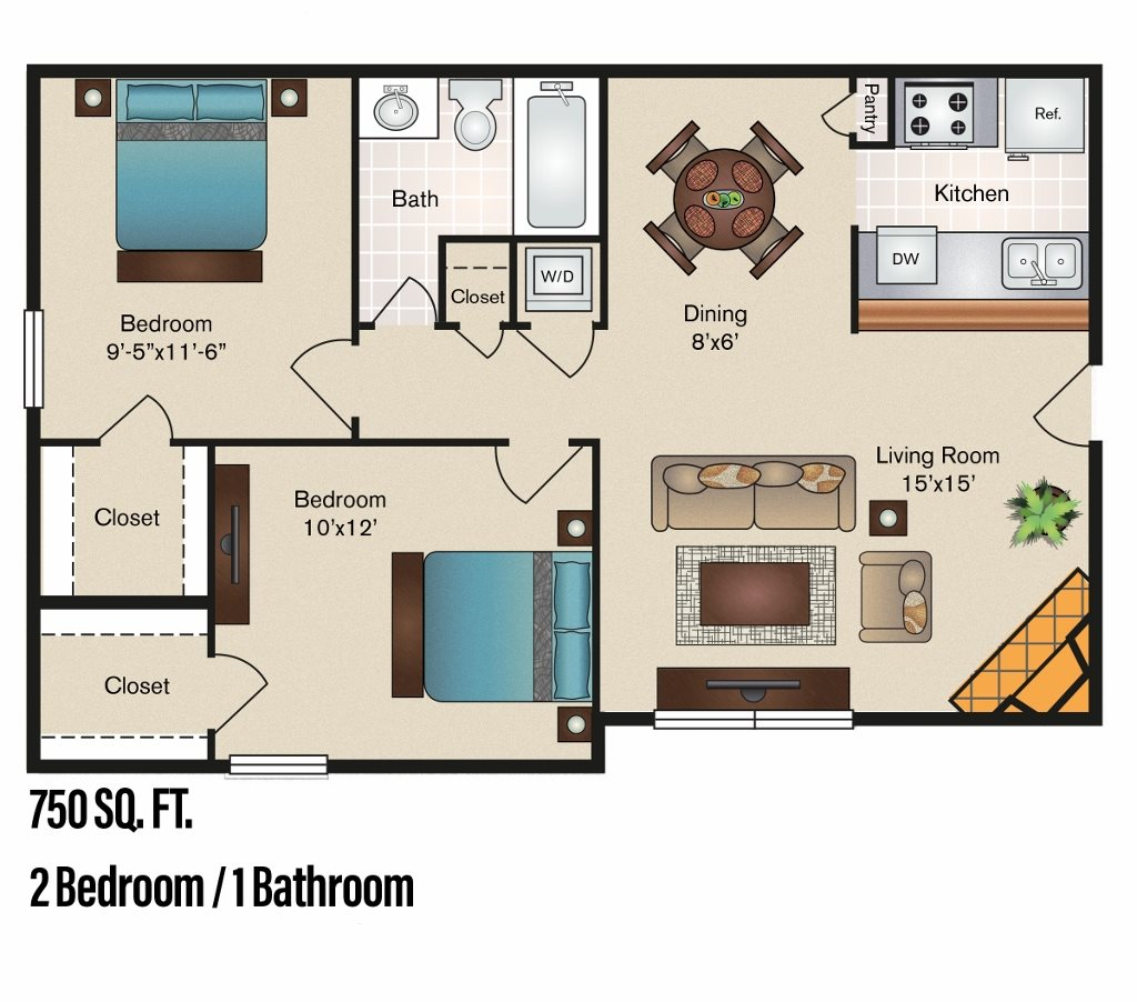 750 sq. ft. B-1 floor plan